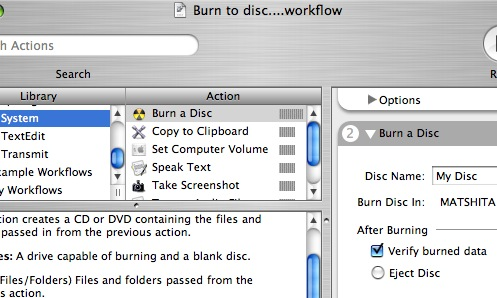 Automator Burn to Disc Workflow