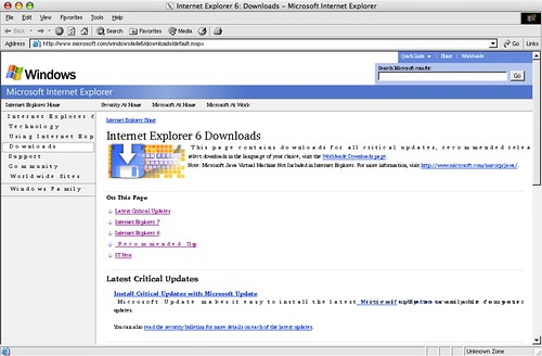 Internet Explorer 6 in Darwine