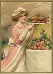 Thanksgiving Postcard 1916ish Turkey is served