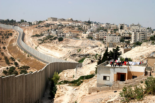 Abu Dis - أبو ديس : General view with apartheid wall cutting it from the Jerusalem