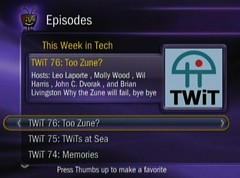 TiVo Screenshot of Podcast