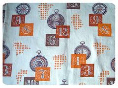 vintage clock fabric