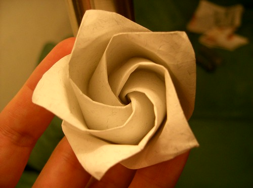 Simple Origami Rose With Stem