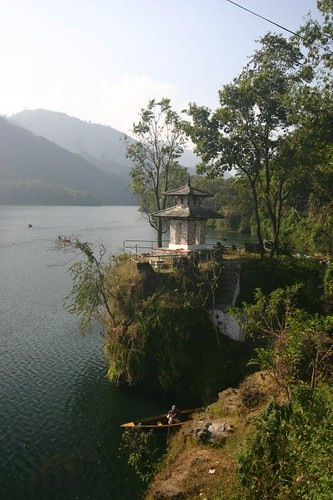 The lake Phewa Tal in Pokhara.