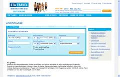 STA Travel  - Buchungsmaske der Linienflug-Buchungsmaschine