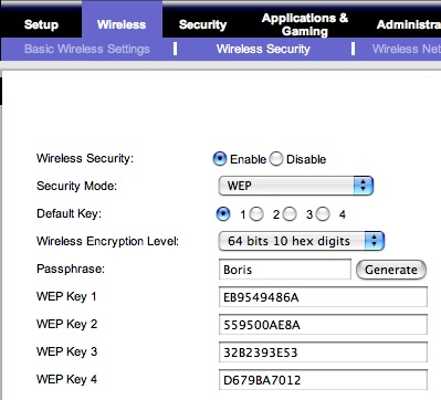 Hex equivalents for WEP passphrase