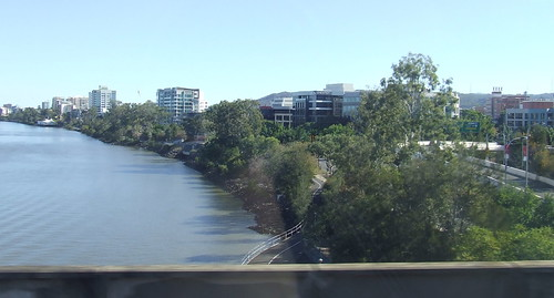 River Panorama - from the Merivale Bridge, crossing the Brisbane River between Brisbane and South Brisbane, Queensland, Australia, looking towards Milton and Toowong