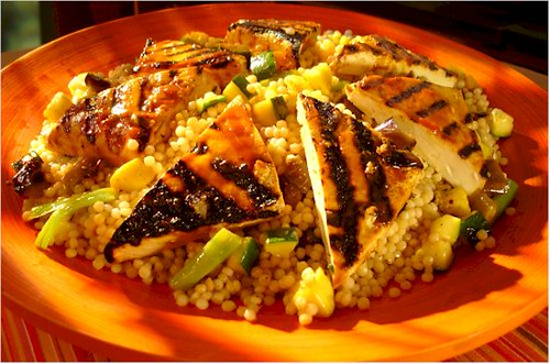 BBQ Tofu and Israeli Couscous salad