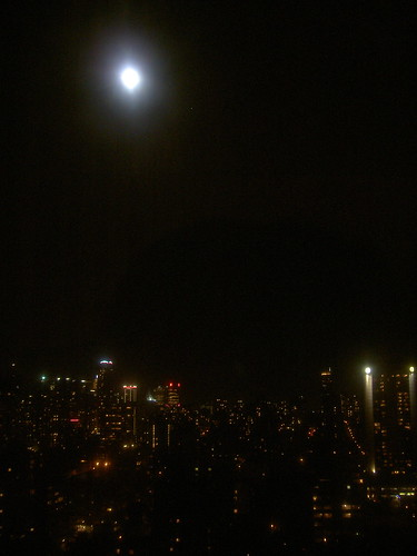 Full moon above Vancouver