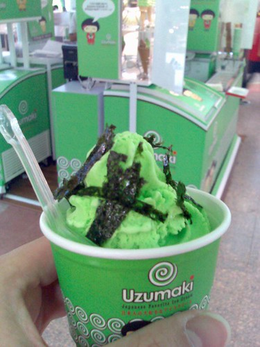 Wasabi ice cream with a seaweed topping