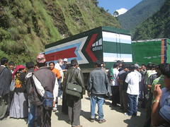 Trucks blocking the road in Nepal
