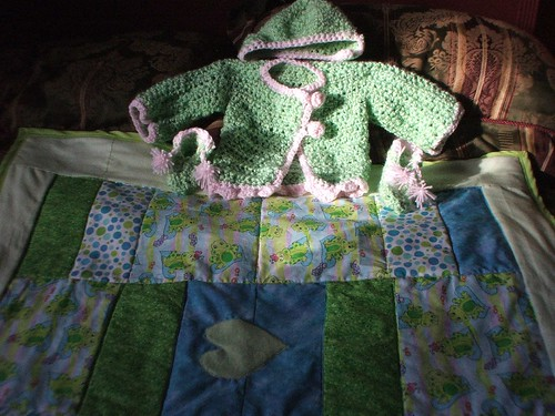 baby layette crochet quilt set