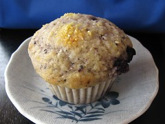 Blue Cornmeal Muffins with Blueberries