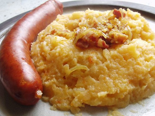 Swede mash (with salami-style sausage)