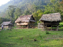 Houses near our hut in Nalan Tai Khmu Village - Nam Ha River