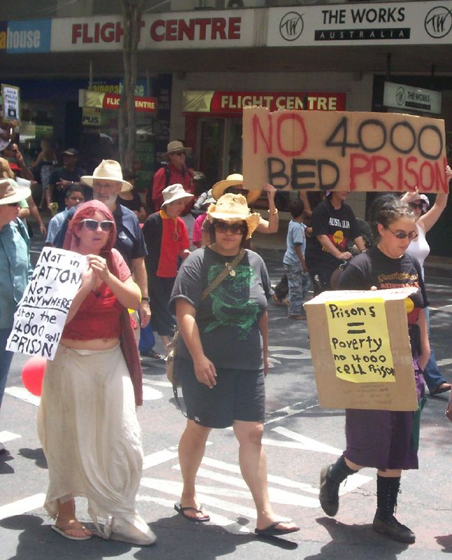 Body of the march passes through the Adelaide St and Edward St intersection, turning right into Edward St - Justice for Mulrunji Rally at Queens Park and March through Brisbane City, Australia, November 18 2006