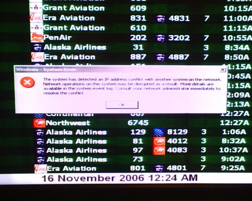 Anchorage, Alaska airport screen