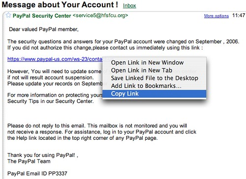 A phishing example