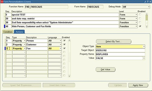 Oracle Form Personalization - Basic Example