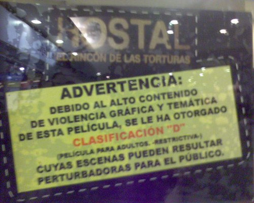 Advertencia en Pelicula Hostal