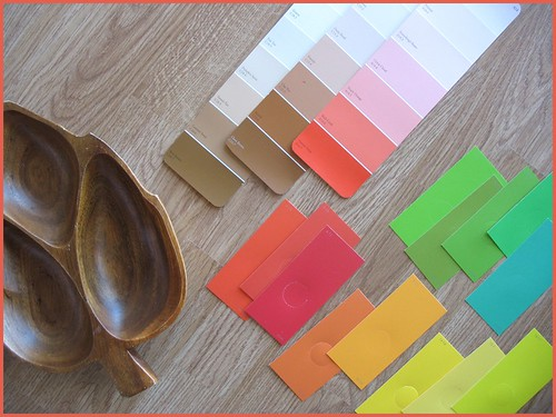 paint chips and wooden bowl