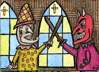 Mr Punch vs Devil - ACEO