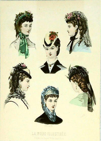 La Mode Illustree, Hats, 1870