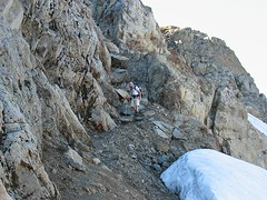 Adam at Bottom of Gully on Ridge Above Queest Alb Glacier