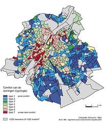 Kaart Brussel: comfort van huizen