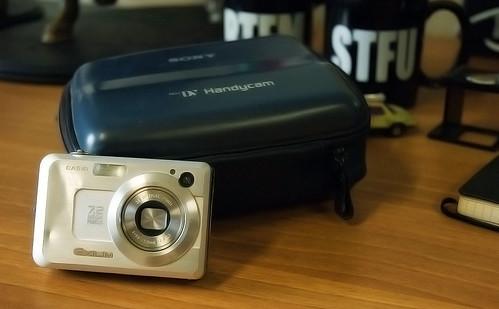 Een gedeukt fototoestel