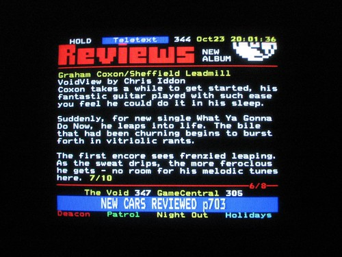 Coxon review on teletext
