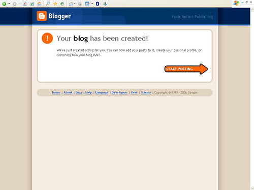 Blogger - Confirmation of new blog