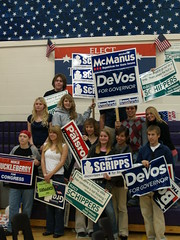 Leelanau Students with Signs at the Mock election
