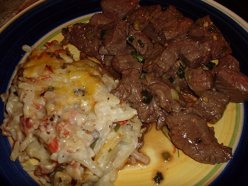 Hashbrown Casserole and Asian Beef