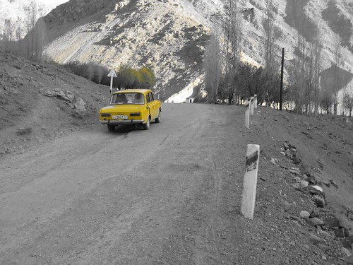 A yellow car - Ayni, Tajikistan