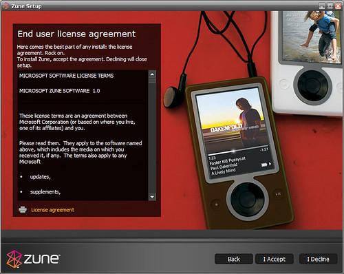 Zune licence agreement