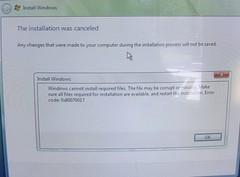 Vista Installation Error