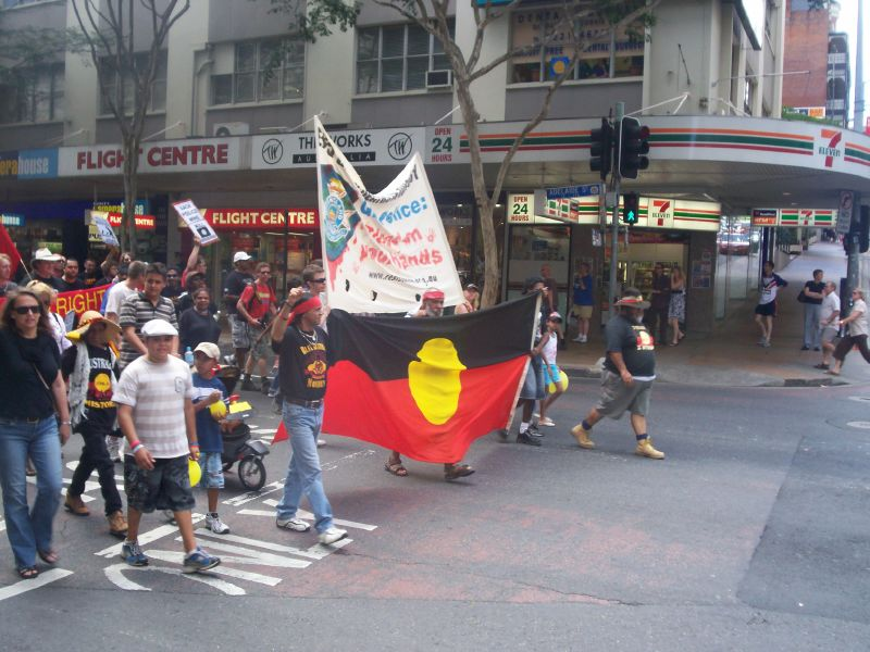 Van of the march enters the Adelaide St and Edward St intersection, turning right into Edward St - Justice for Mulrunji Rally and March Brisbane City, Australia, November 18 2006