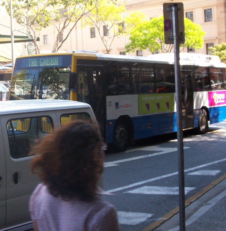 Gabba bus in Adelaide St, Brisbane City - The Ashes 2006-7 - First Test - Atmosphere in town, outside the Gabba, and watching the game on a big screen at the 'beach' in Southbank.