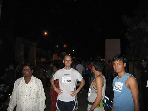 Hyd Half Marathon - Starting Pt - Ajendra and his Hungarian friend