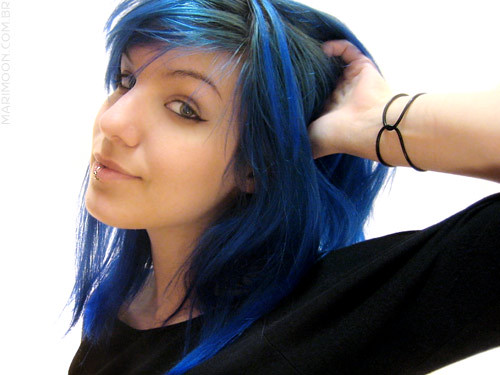 brown hair with purple streaks. I want to get purple blue and