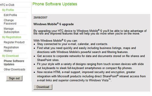 Windows Mobile 6 Upgrade para HTC S620