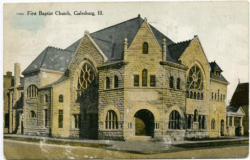 Postcard:  Galesburg 1st Baptist Church