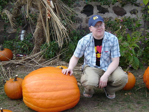 Whitey with giant pumpkin.