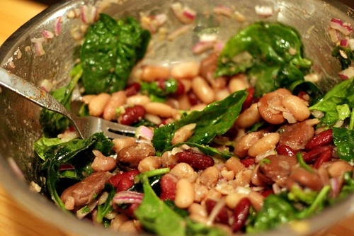 A salad mostly consisting of 3 kinds of beans