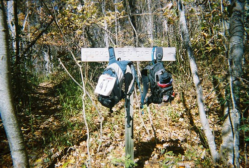 Bags on the post, Black Mtn Trail