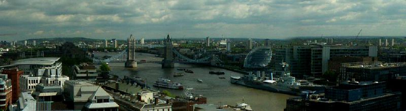 The Monument - view from top over the Thames to Tower Bridge, City Hall and HMS Belfast.