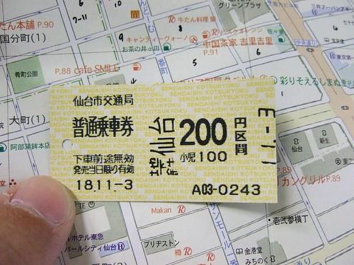 仙台地下鐵車票