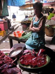 Woman selling blood - Phousy Market - Luang Prabang