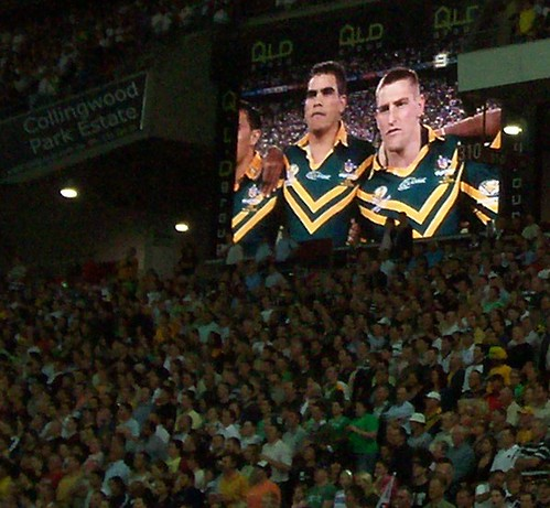 Australian team listens to 'Advance Australia Fair', the national anthem - Kangaroos v British Lions Rugby League Test Match - Lang Park (Suncorp Stadium), Brisbane, Australia, November 18th 2006